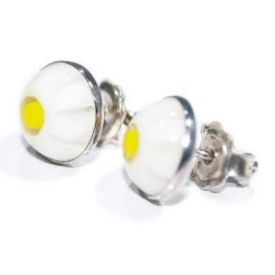 Pretty Sterling Silver Murano Daisy stud earrings - Heidi Kjeldsen Jewellers - ER914