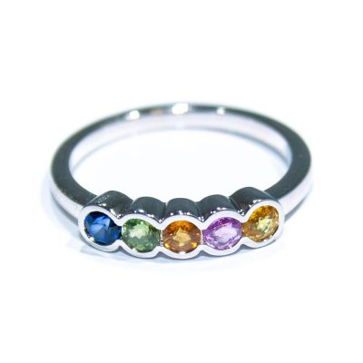 Striking Multi-Couloured Natural Sapphire Dress Ring - Heidi Kjeldsen Jewellers - R1541