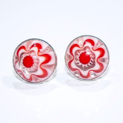Striking Sterling Silver and Red Floral Murano Glass Earstuds - Heidi Heidi Kjeldsen Jewellers - ER1925B