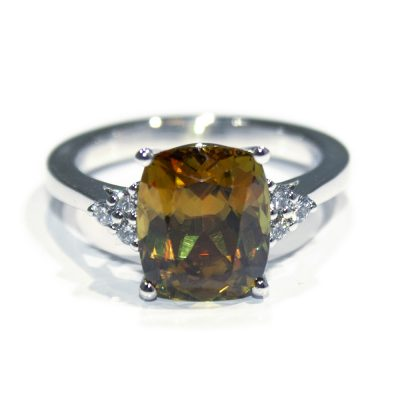 Stunning Antique Cut Natural Sphene and Diamond Dress Ring - Heidi Kjeldsen Jewellers - R1540