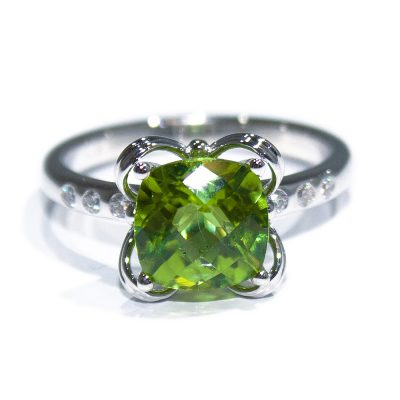 Stylish Natural Peridot and Diamond Dress Ring - Heidi Kjeldsen Jewellers - R1539