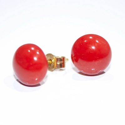 Stylish Sustainable Natural Pink Coral and Gold Earstuds - Heidi Kjeldsen Jewellers - ER0347