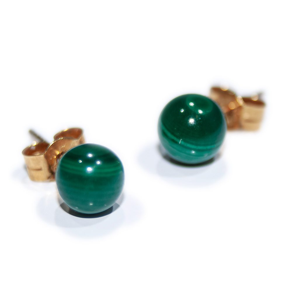 Verdant Natural Malachite and Gold Earstuds - Heidi Kjeldsen Jewellers - ER0569
