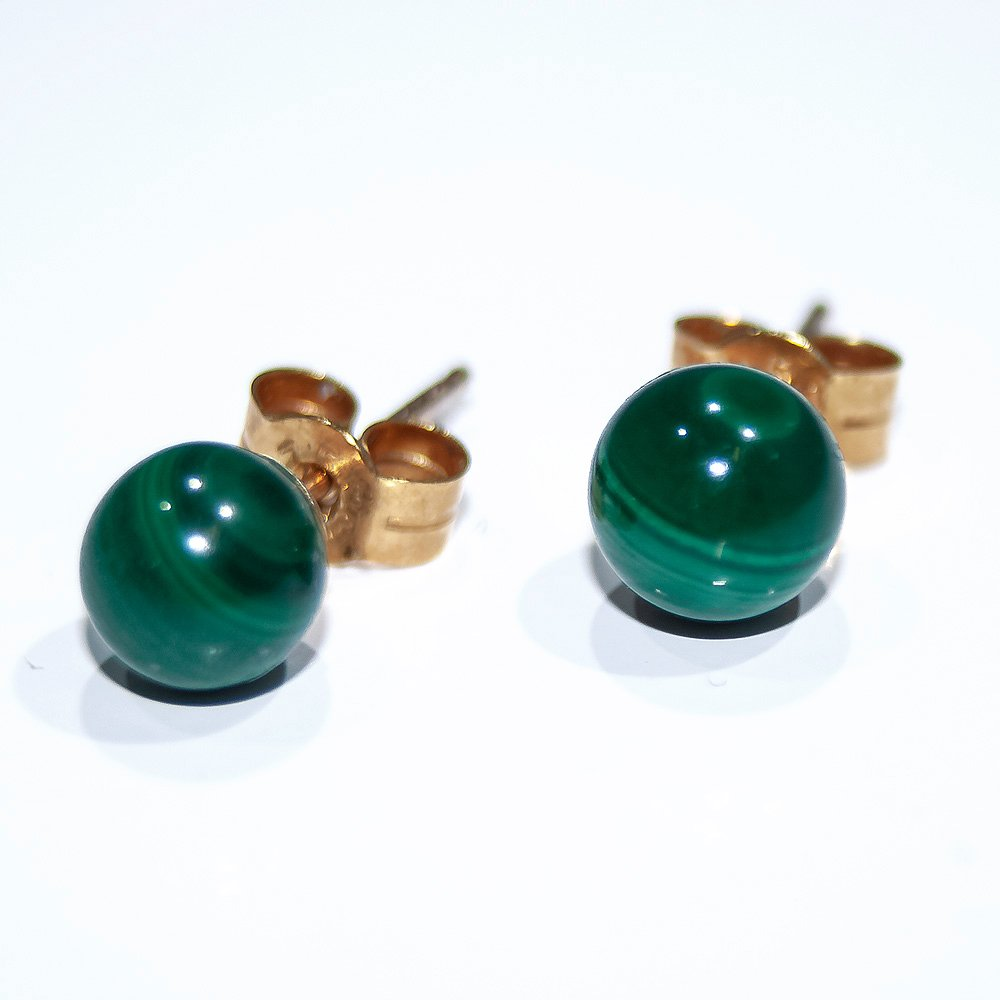 Verdant Natural Malachite and Gold Earstuds.