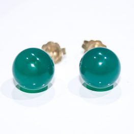 Vibrant Green Agate and Gold Earstuds - Heidi Kjeldsen Jewellers - ER1448