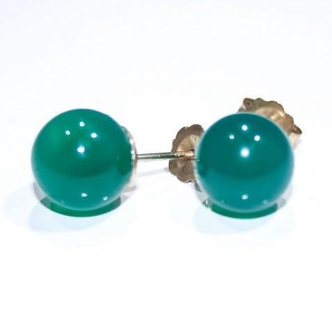 Vibrant Green Agate and Gold Earstuds - Heidi Kjeldsen Jewellers - ER1448B