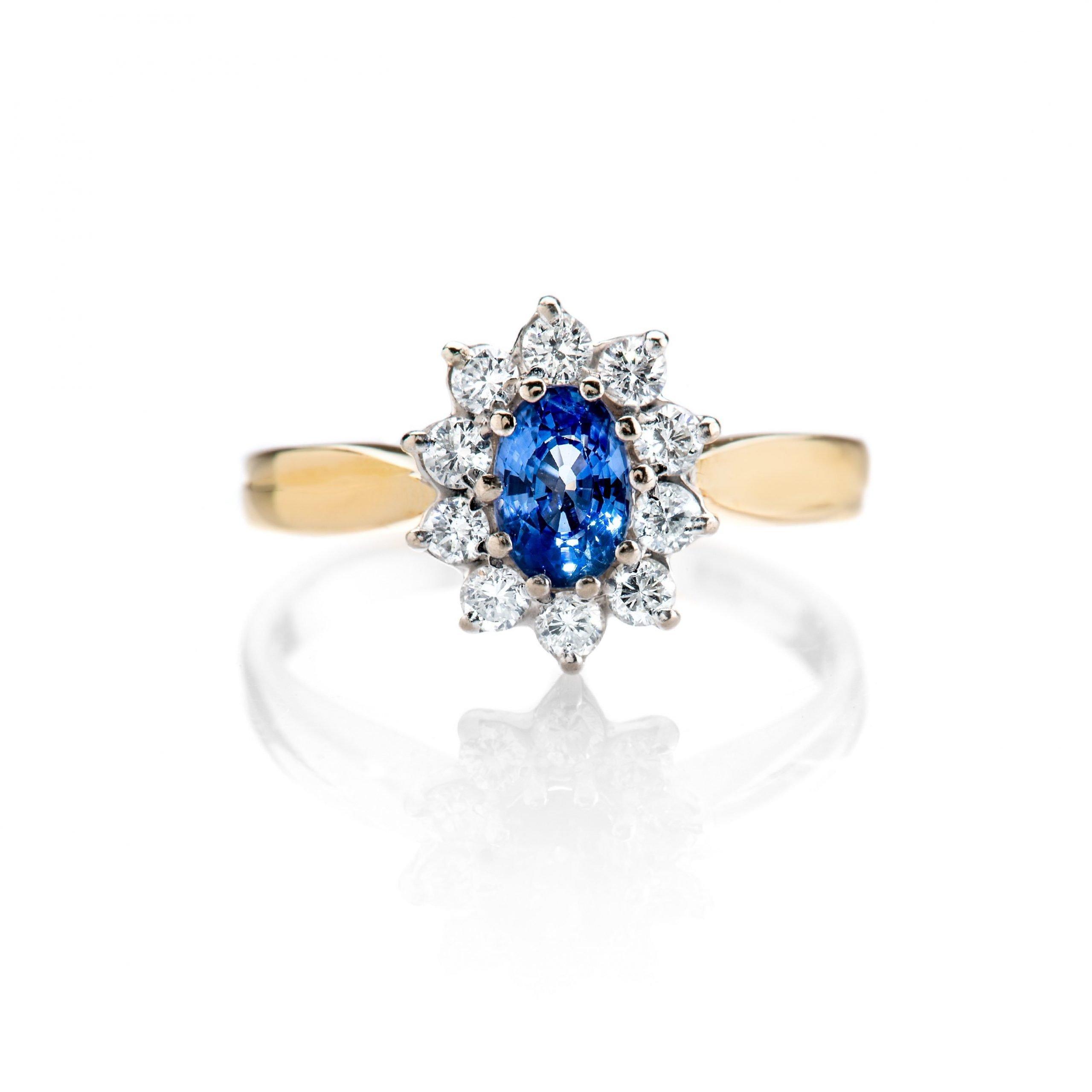 Heidi Kjeldsen Adorable Cornflower Blue Ceylon Sapphire and Diamond Cluster Ring ALT1 R1111