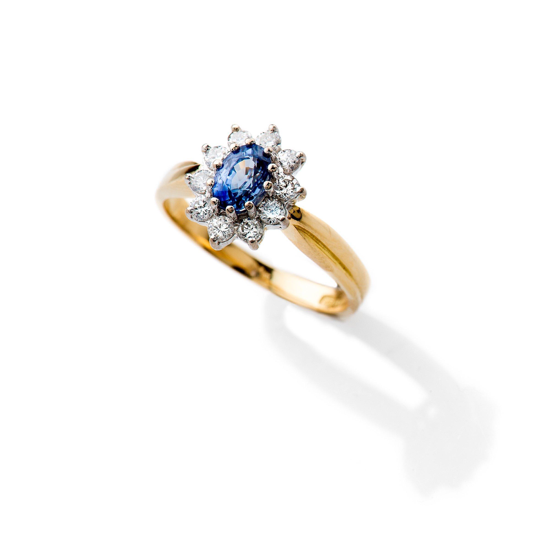 Heidi Kjeldsen Adorable Cornflower Blue Ceylon Sapphire and Diamond Cluster Ring ALT2 R1111