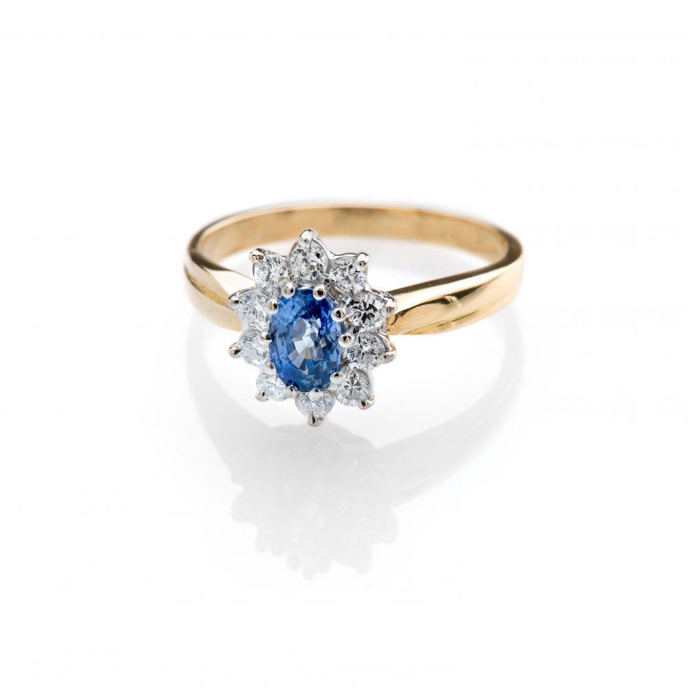 Heidi Kjeldsen Adorable Cornflower Blue Ceylon Sapphire and Diamond Cluster Ring R1111