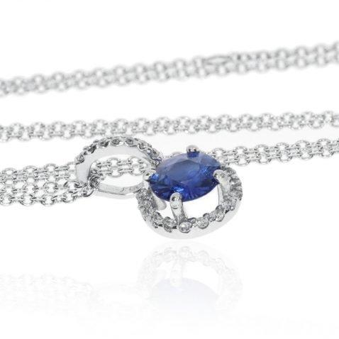 Heidi Kjeldsen Stunning Ceylon Sapphire & Diamond Pendant in 18ct White Gold P912 Flat