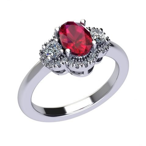 Beautiful Natural Ruby and Diamond Ring R1203