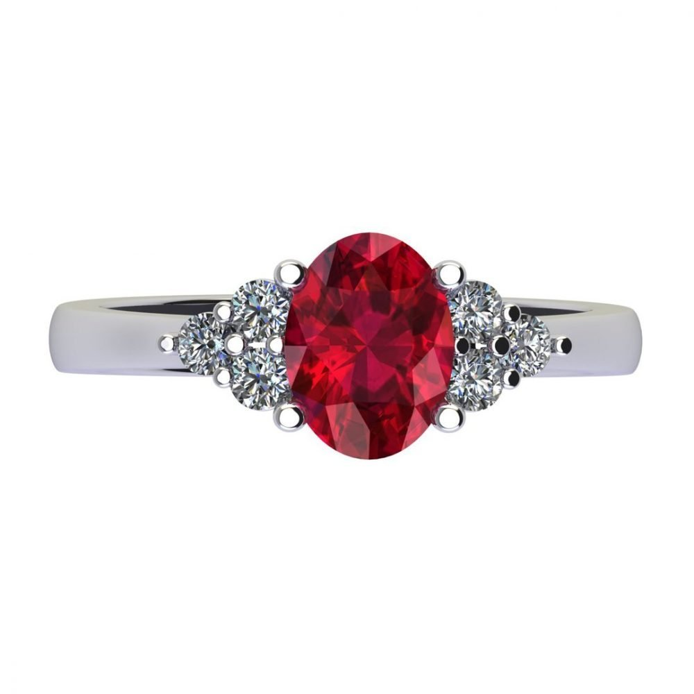 Dainty Natural Ruby and Diamond Trefoil Ring R920 A