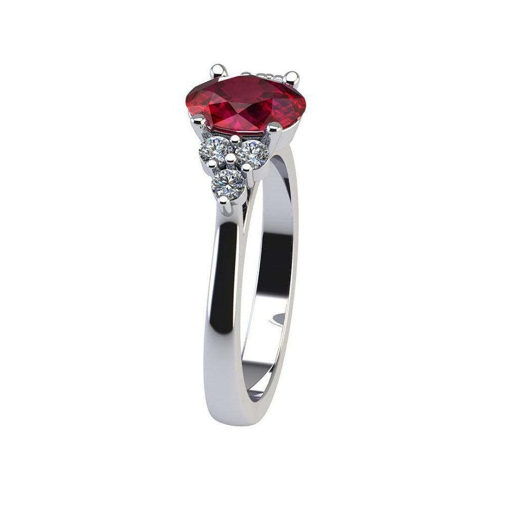 Dainty Natural Ruby and Diamond Trefoil Ring R920 B