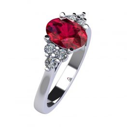 Dainty Natural Ruby and Diamond Trefoil Ring R920 C