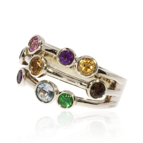Multi Gemstone Bubble Ring By Heidi Kjeldsen Jewellery R1546 Side