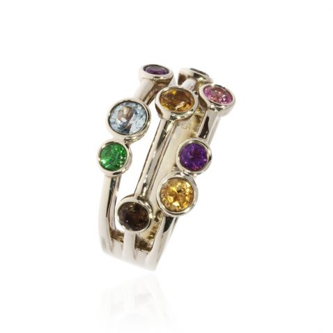 Multi Gemstone Bubble Ring By Heidi Kjeldsen Jewellery R1546 Vertical