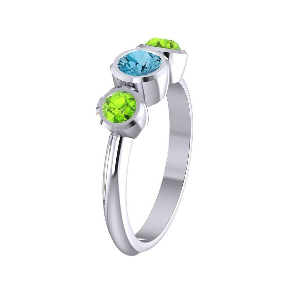 Pretty Blue Topaz and Natural Peridot Three Stone Ring R1330-A