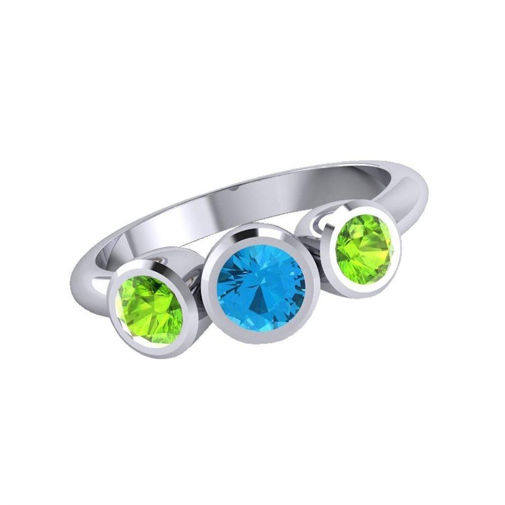 Pretty Blue Topaz and Natural Peridot Three Stone Ring R1330-B