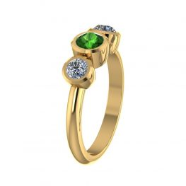 Beautiful Green Tourmaline and White Sapphire Ring - R1529-A