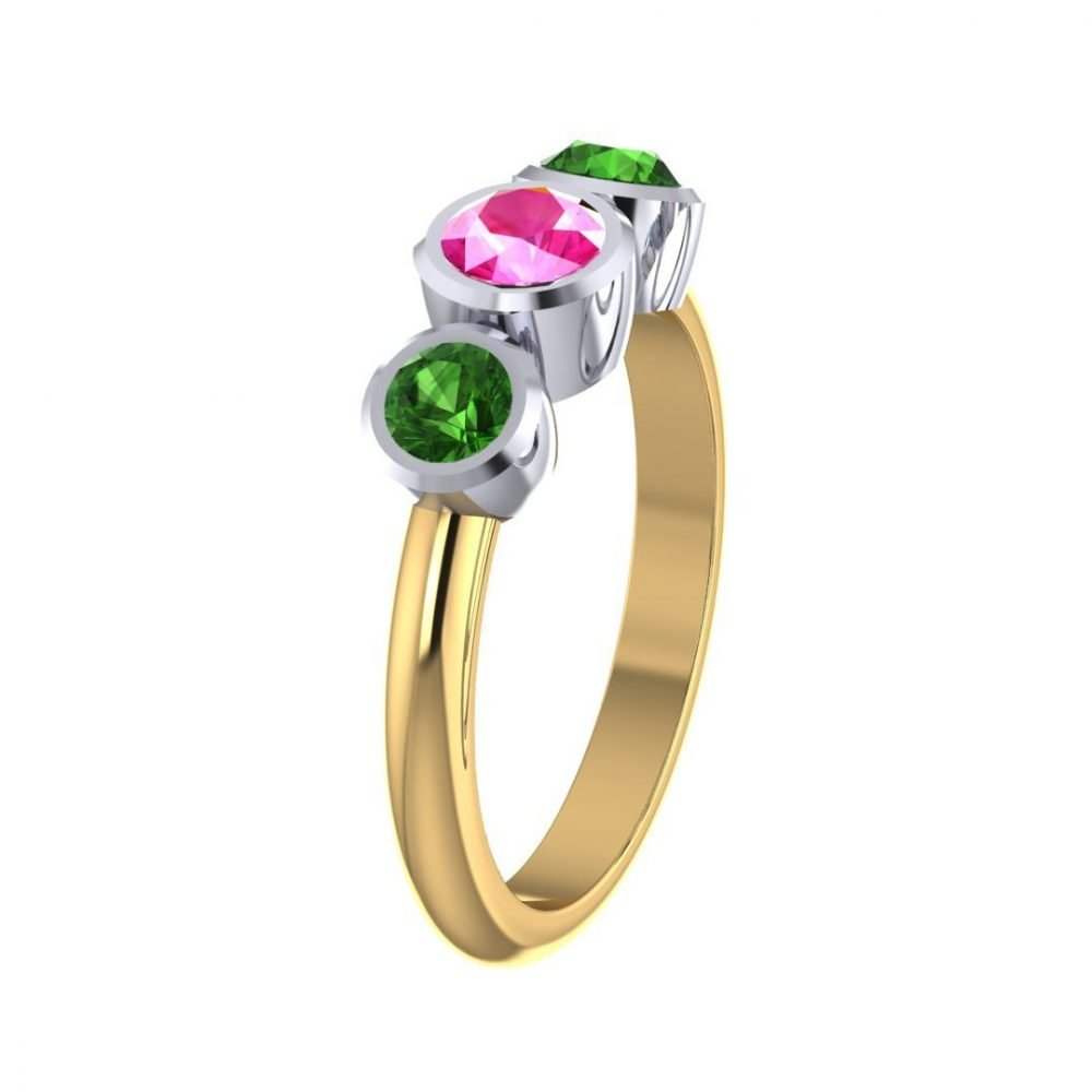 Sweet Pink and Green Natural Tourmaline Three Stone Ring R1328-A