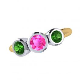 Sweet Pink and Green Natural Tourmaline Three Stone Ring R1328-B