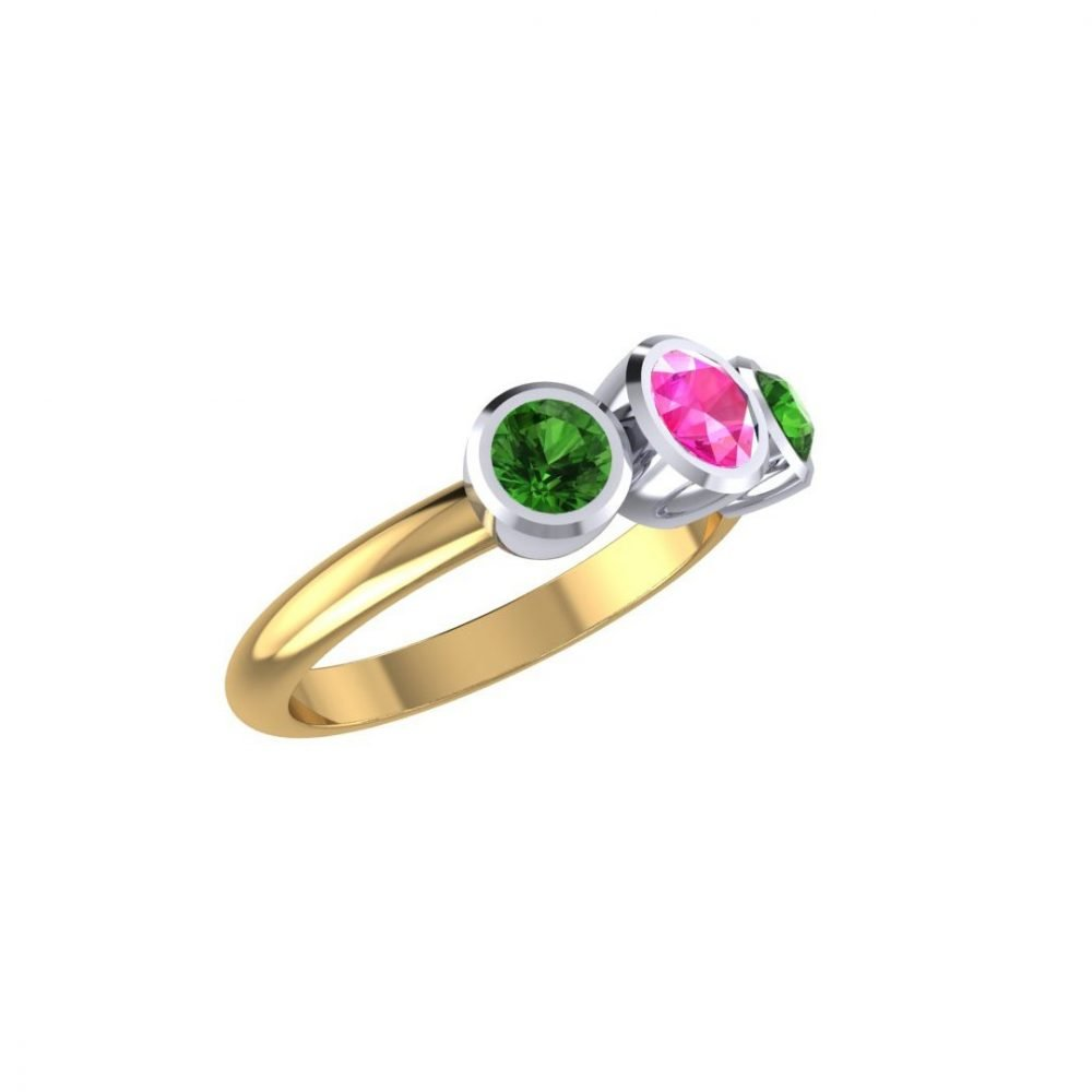 Sweet Pink and Green Natural Tourmaline Three Stone Ring R1328-C
