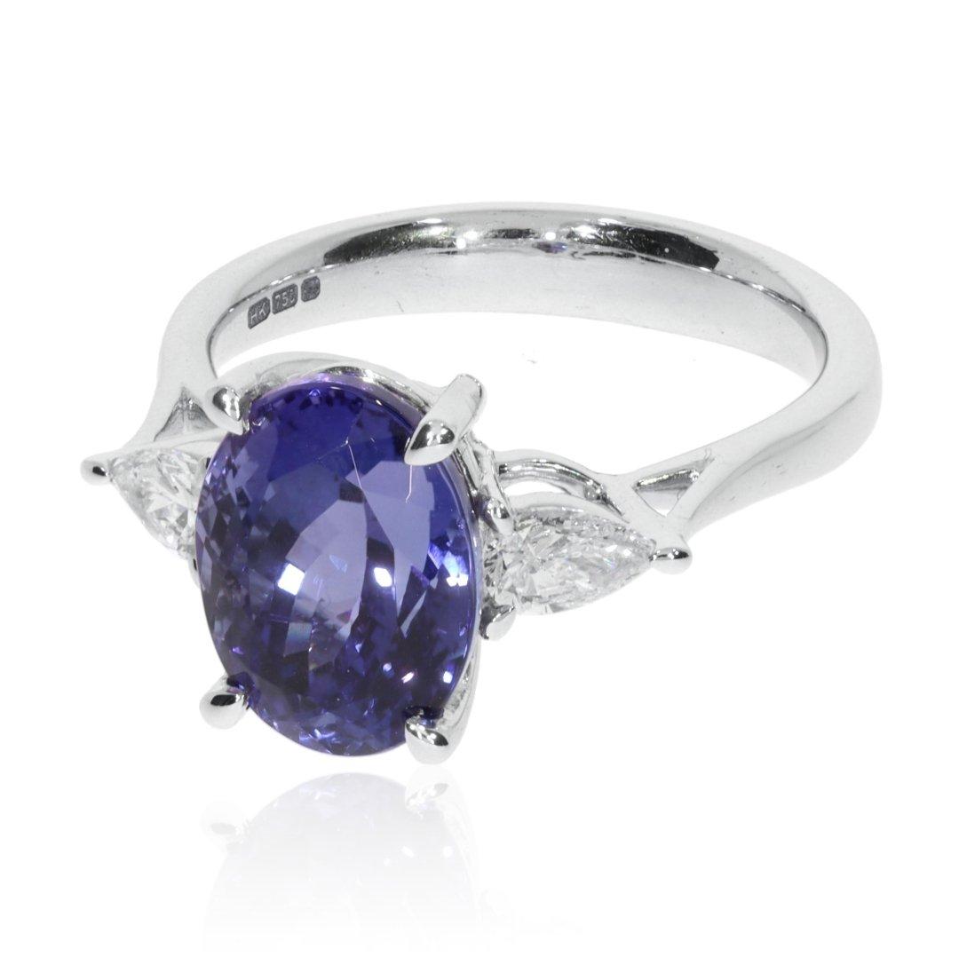 Elegant Tanzanite and Diamond 18ct Gold Ring R1549 Heidi Kjeldsen Jewellery Side View