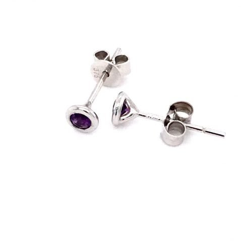 Amethyst and White Gold Earrings top view