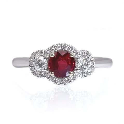 Heidi Kjeldsen Stunning Intense Red Natural Ruby Brillant Cut Diamond And Gold Cocktail Or Dress Ring - R1203-3