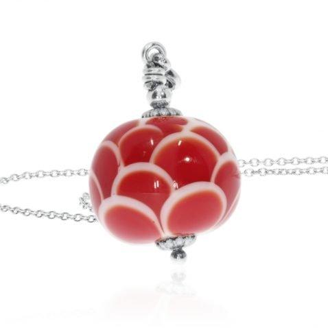 Red and white floral Murano Glass Pendant By Heidi Kjeldsen Jewellery P1318 Standing