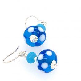 Murano Glass Blue Dot Earrings Top view Close up