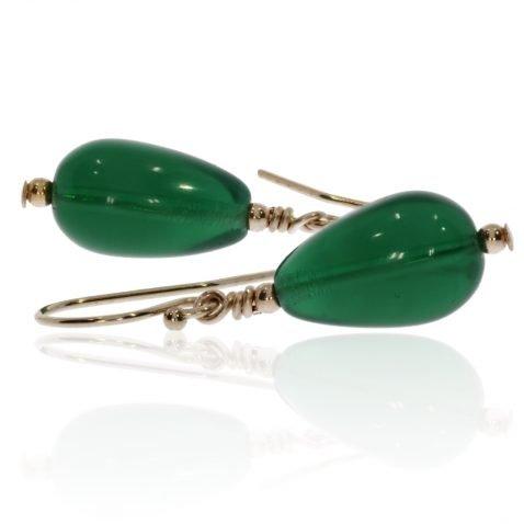 Deep Green Glass Earrings By Heidi Kjeldsen Jewellery ER4713 Flat