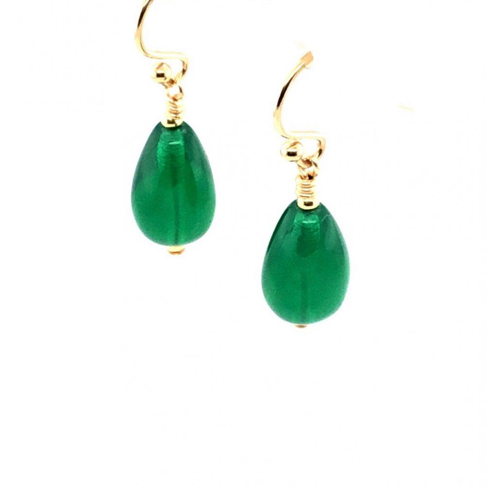 Murano Glass Green Drop Earrings Side View