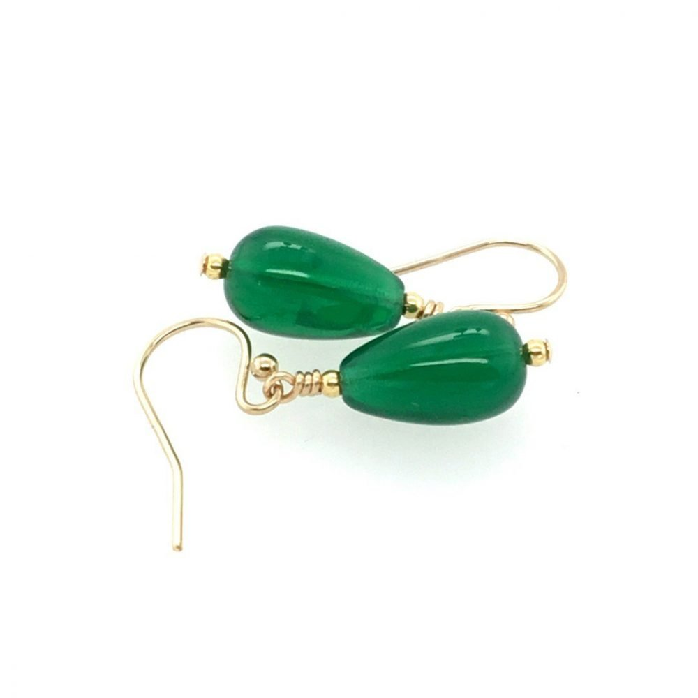 Murano Glass Green Drop Earrings Top View