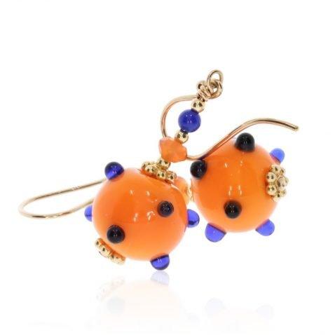 Murano Glass Orange and Cobalt Blue Earrings by Heidi Kjeldsen Jewellery side ER4709