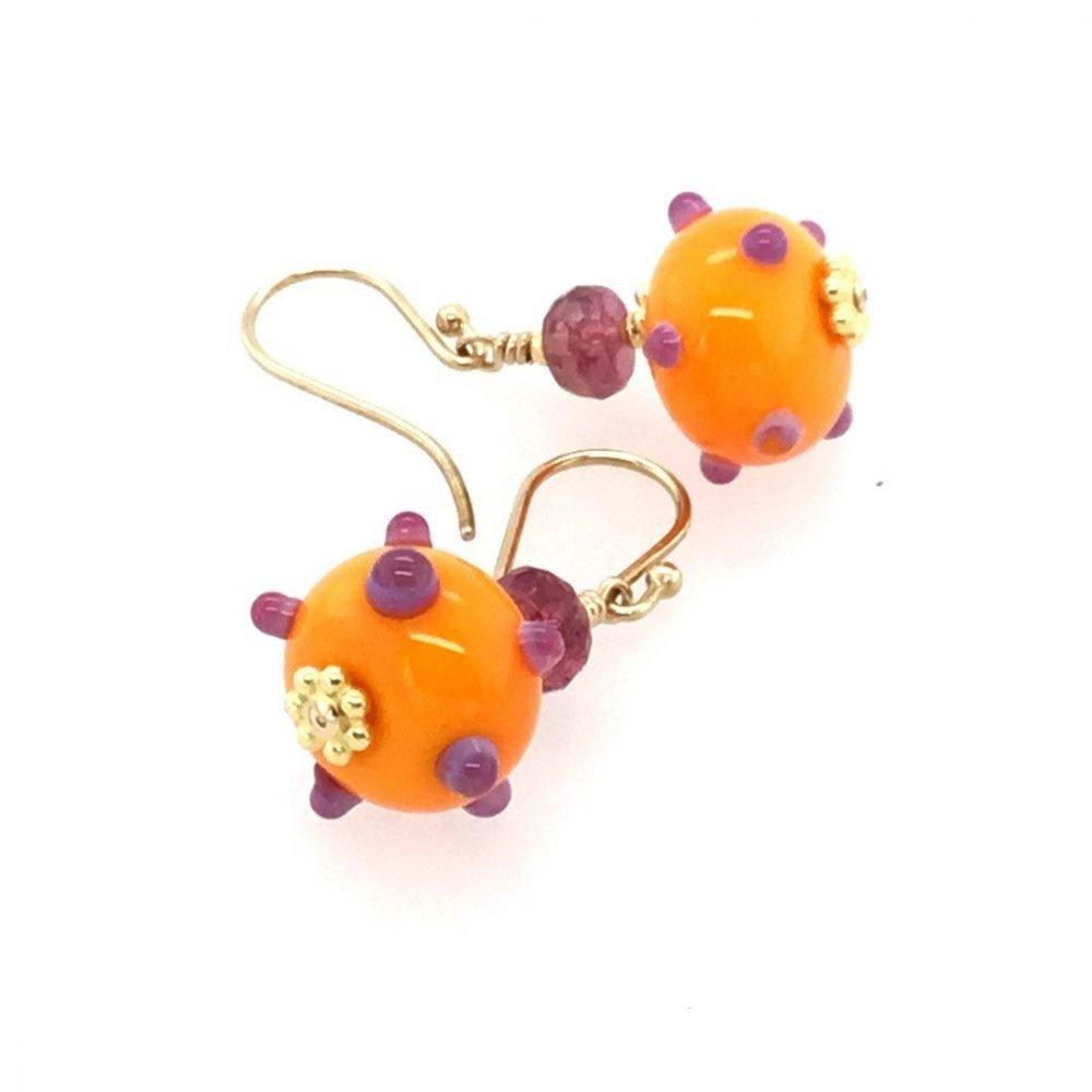 Murano Glass Orange and Purple Earrings top view