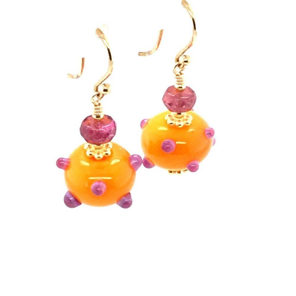 Murano Glass Orange and Purple Earrings side view