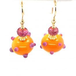 Murano Glass Orange and Purple Earrings