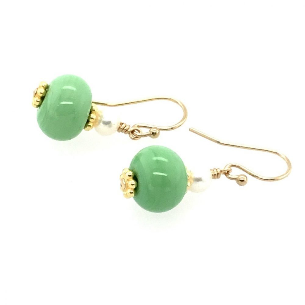 Pale Green Murano Glass and Cultured Pearl Earrings
