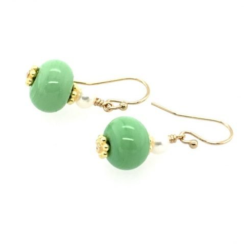 Murano Glass Pale Green and Pearl Earrings side view