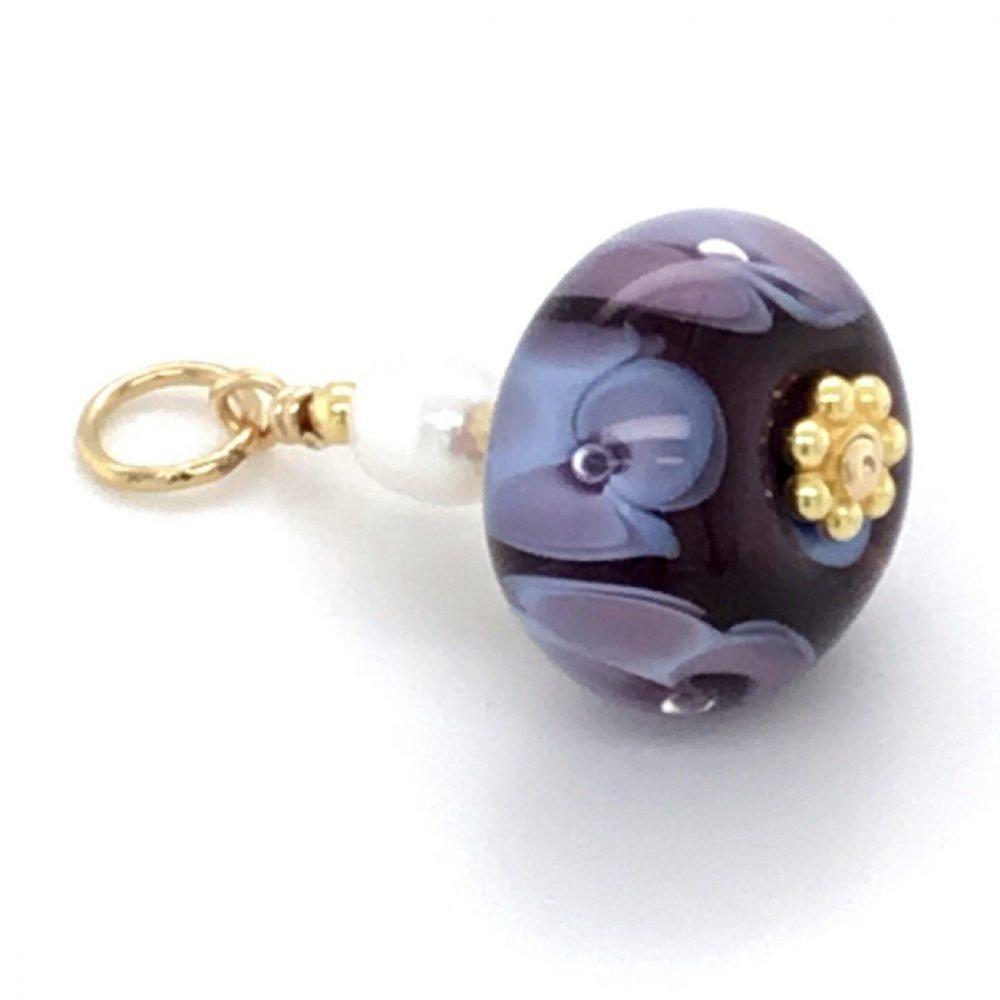 Purple Floral Murano Glass Pendant