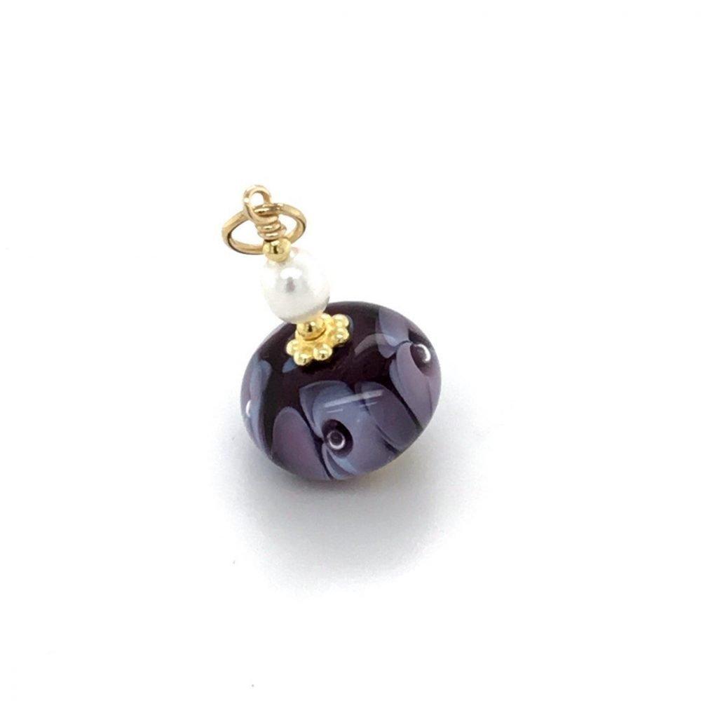Purple Floral Murano Glass Pendant side view