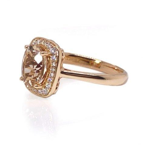 Morganite and Diamond Rose Gold Cluster Ring by Heidi Kjeldsen Jewellery R1623 side view