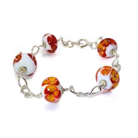 Orange Floral Murano Glass Bracelet By Heidi Kjeldsen Jewellery BL1311 A