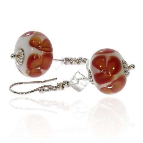 Murano Glass Orange Flowers and Rock Crystal Earrings by Heidi Kjeldsen Jewellery ER4715 Side