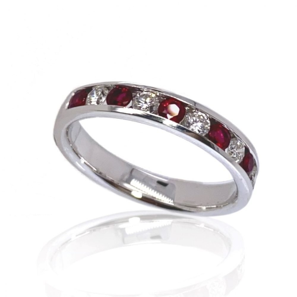 Ruby and Diamond Eternity Ring By Heidi Kjeldsen jewellery R1582 vertical view