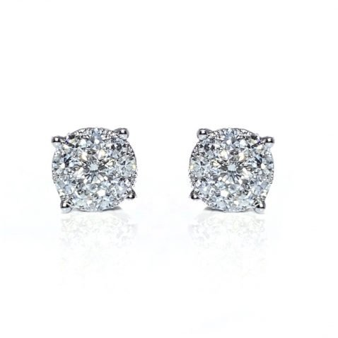 Stunning Diamond Cluster Earrings By Heidi Kjeldsen Jewellers ER2502 front view