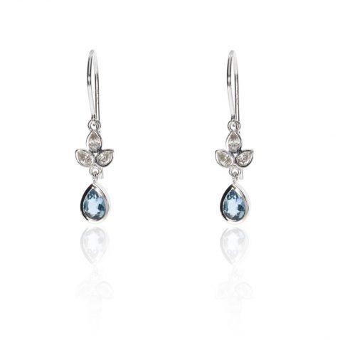Exquisite Aquamarine and Diamond Drop Earrings By Heidi Kjeldsen Jewellers ER4684 Front