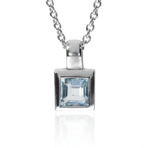 Blue Topaz And White Gold Pendant P919 Front