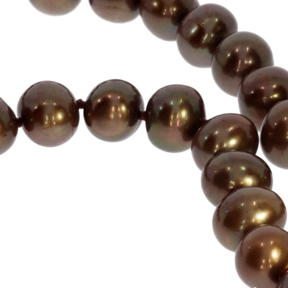 Bronze Cultured Pearl Necklace by Heidi Kjeldsen jewellery NL1176 Close up